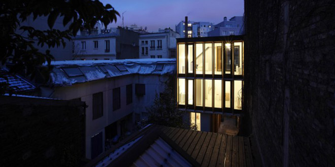 nuit surélévation maison héliotrope architecte