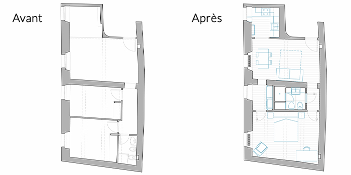 renovation avant apres plan