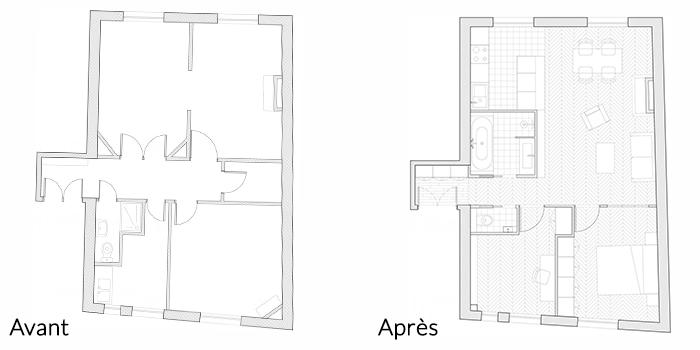 plan architecture avant apres