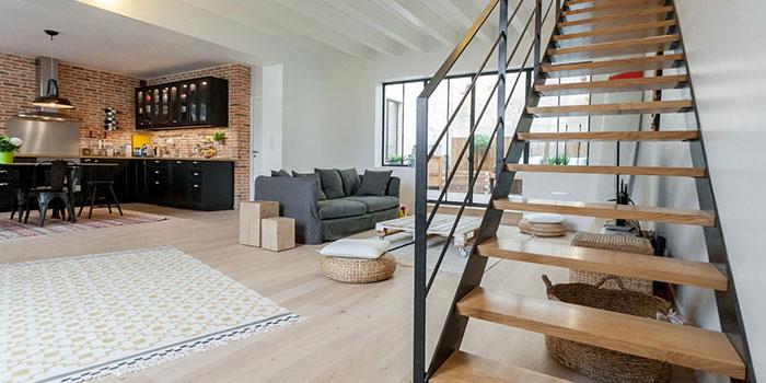 escalier sejour renovation bois