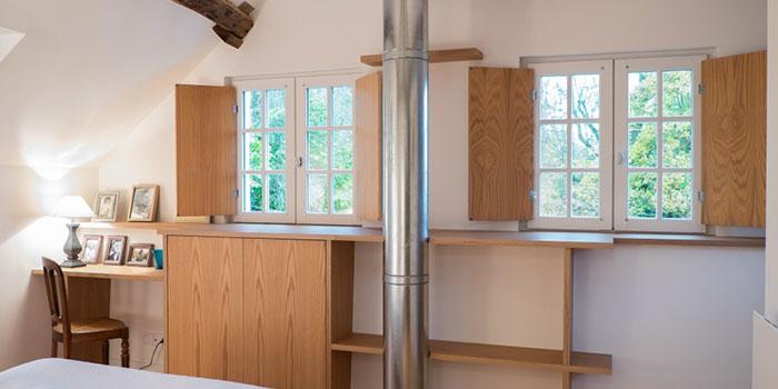 chambre bois maison architecte