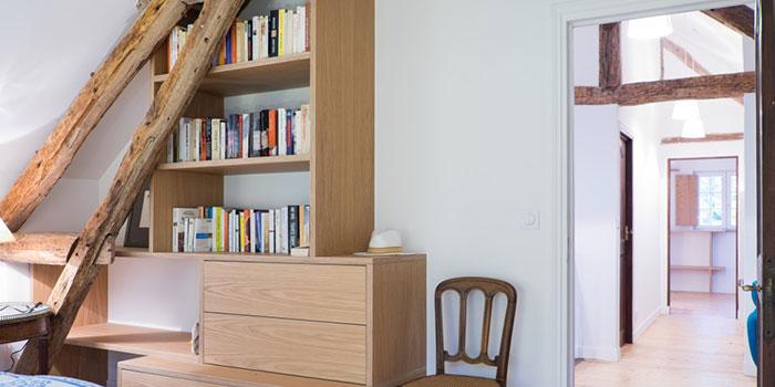 rangement bois chambre architecture
