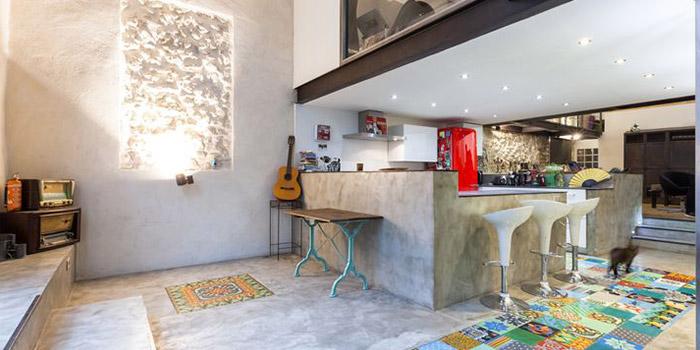 cuisine mezzanine pierre renovation