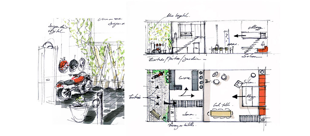 dessin architecte transformation loft