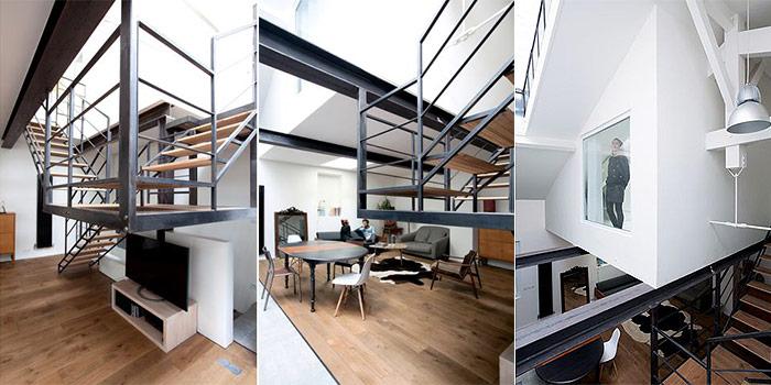 escalier sejour loft architecte