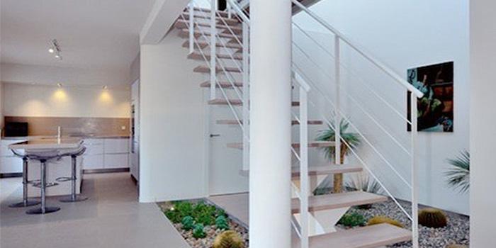 escalier maison architecte plantes