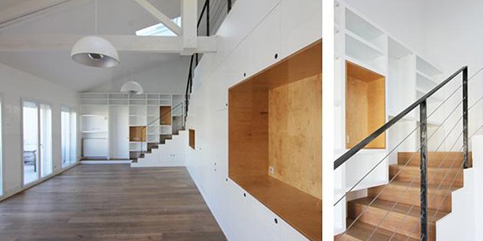 sejour blanc escalier architecture