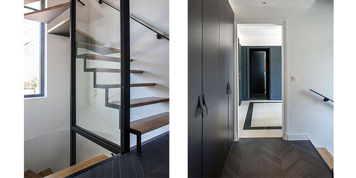 escalier couloir noir blanc