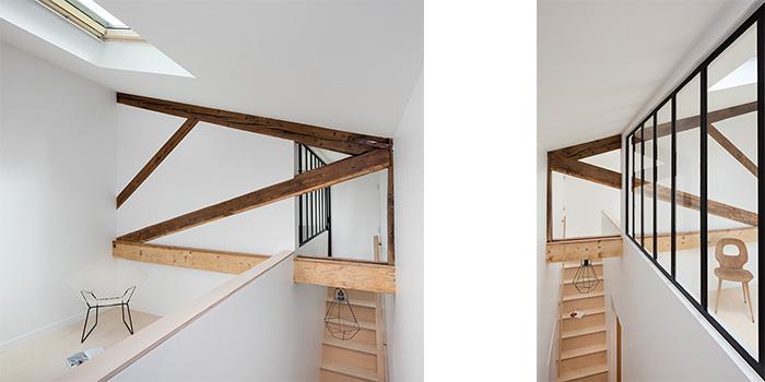 escalier poutre bois appartement
