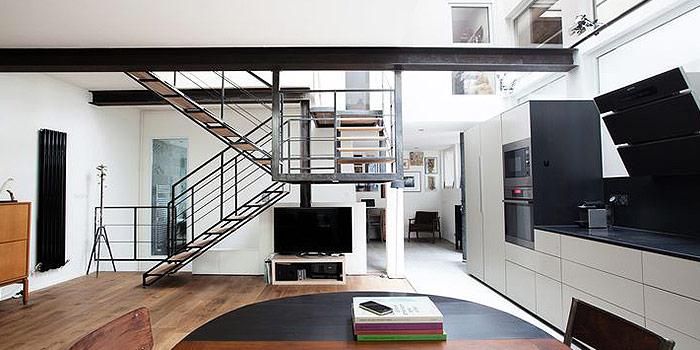 sejour escalier transformation loft