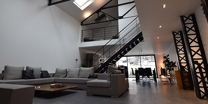 sejour poutre renovation loft
