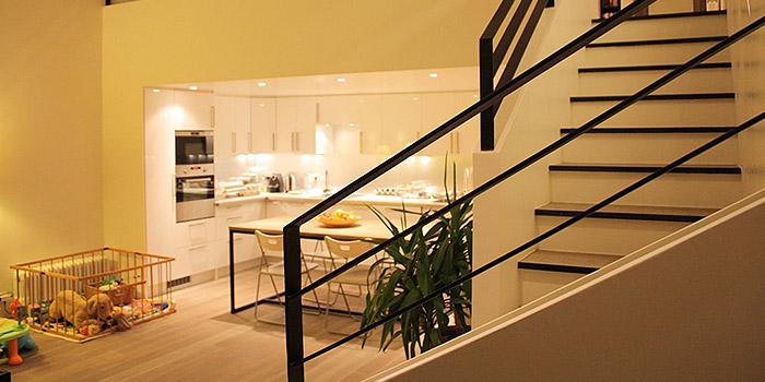 cuisine ouverte escalier architecte