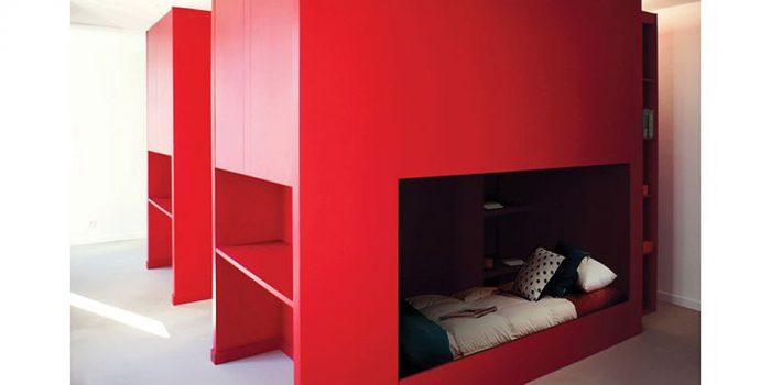 chambre enfant rouge architecte