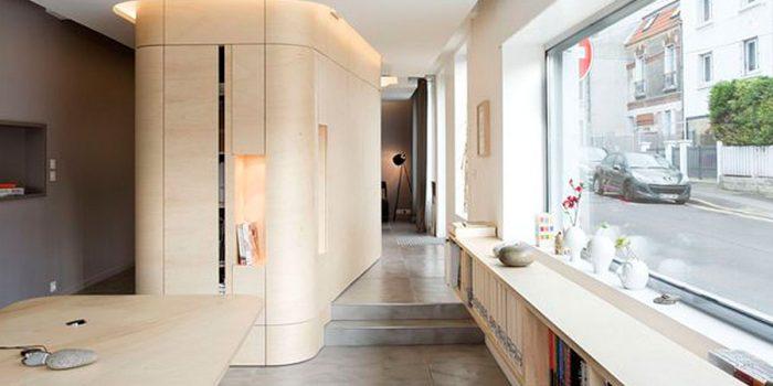 couloir bureaux renovés architecture