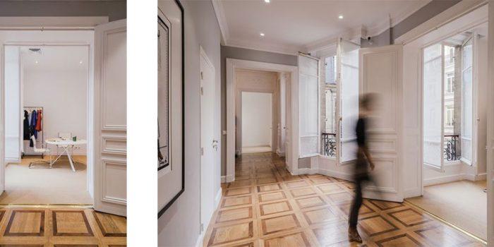 couloir parquet renovation bureaux