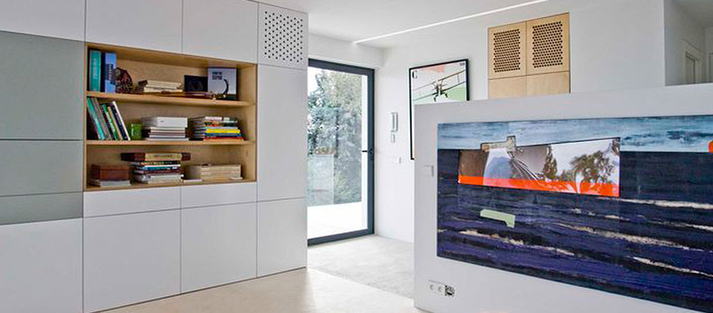 maison architecte sejour blanc