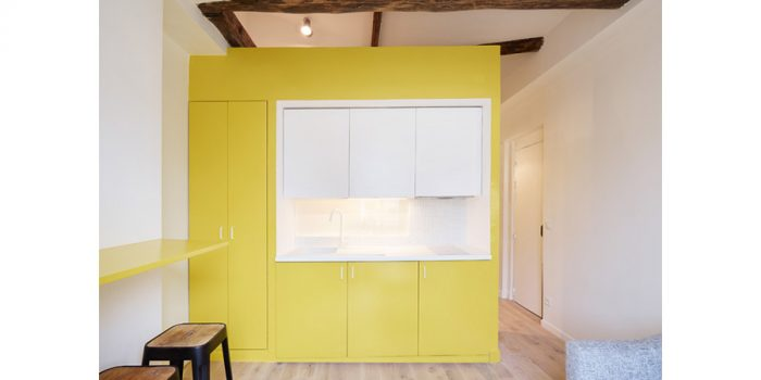 ilot renovation studio poutre