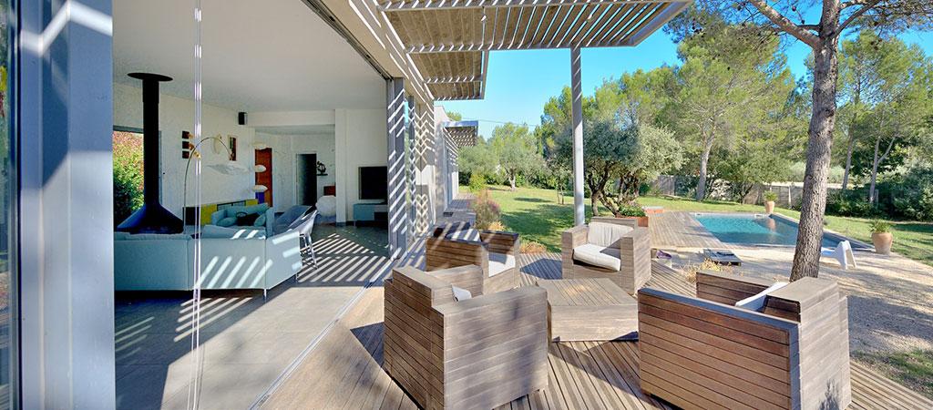 terrasse vue piscine architecte