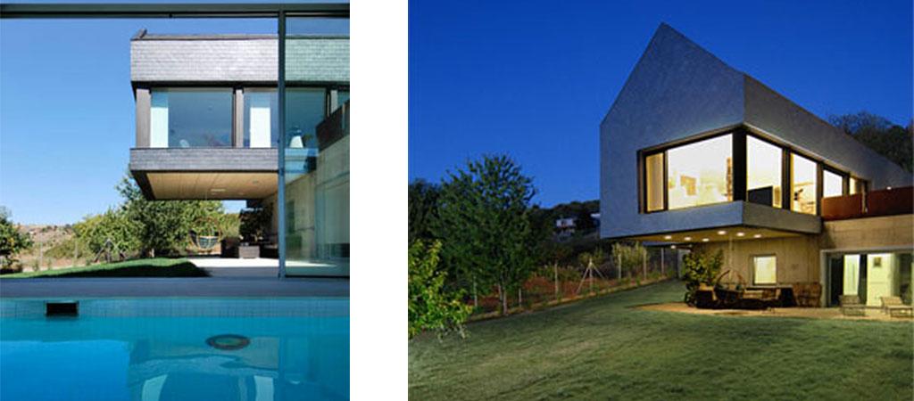piscine facade maison neuve