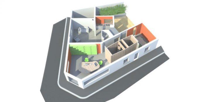 plan 3D renovation architecte