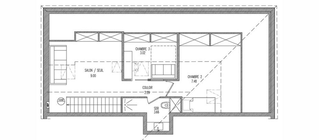 plan appartement combles architecte