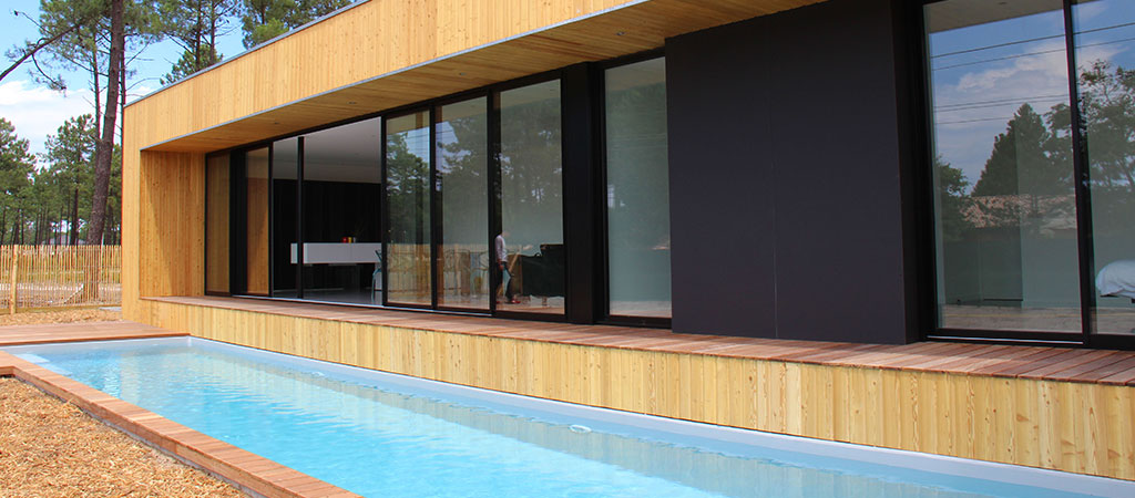 maison bois contemporaine piscine