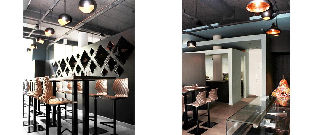 restaurant noir blanc architecte