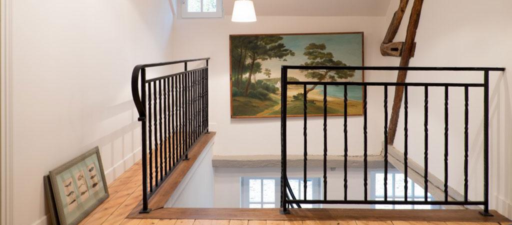 escalier fer palier maison