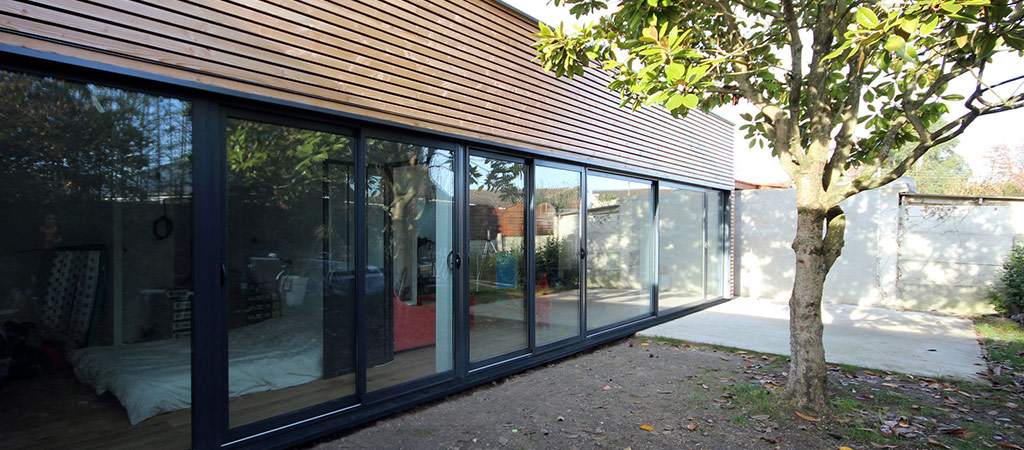 extension ossature bois architecte