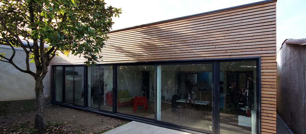 maison architecte extension bois
