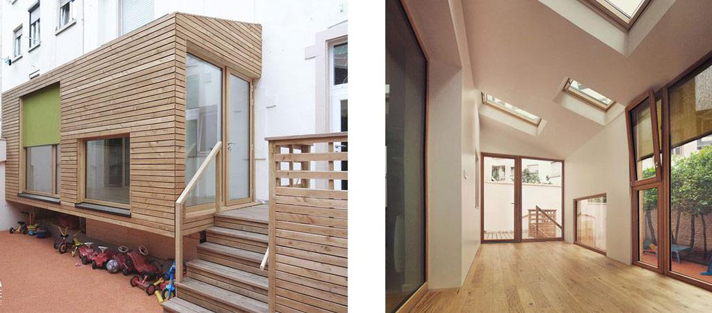 extension ossature bois maison