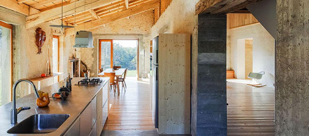 cuisine poutre pierre architecte