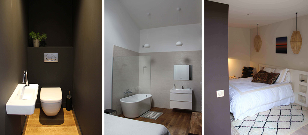salle bain chambre loft