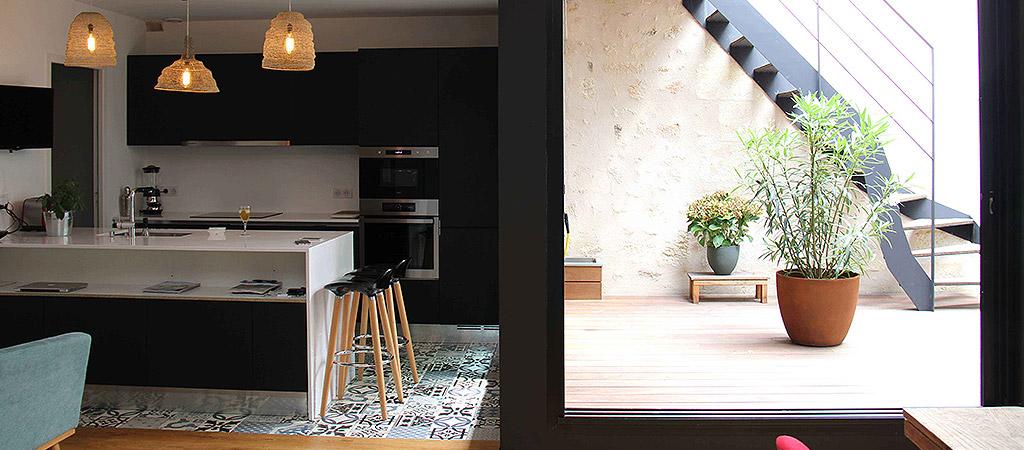 cuisine ouverte sejour loft