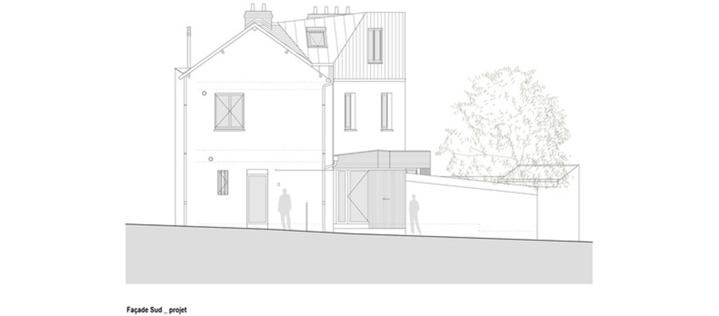 plan extension surelevation architecte