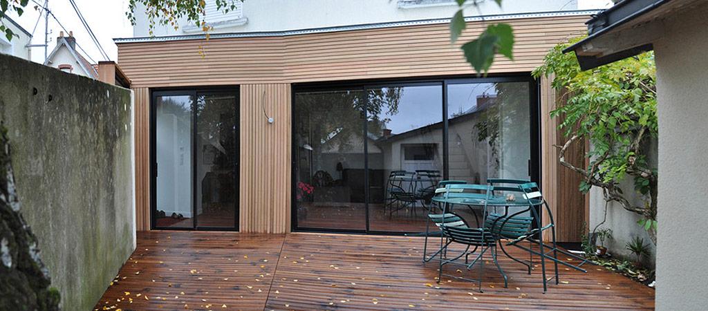 terrasse extension bois vitres