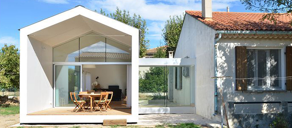 extension architecte blanc verre