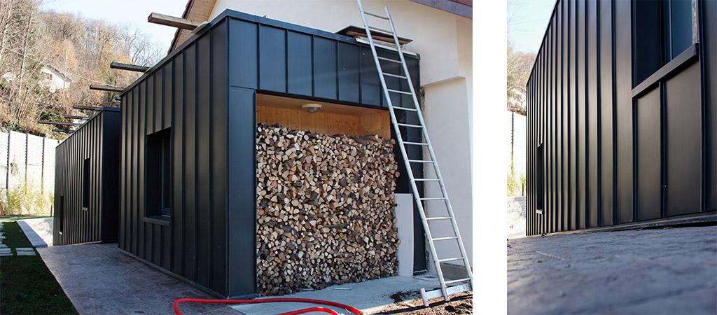extension rangement bois architecte