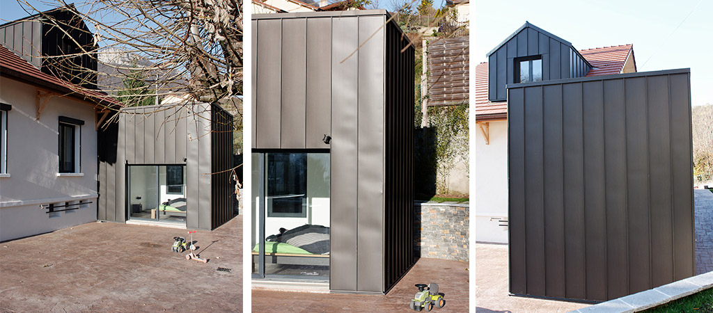 extension zinc maison architecte