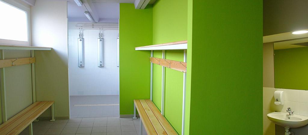vestaire vert renové architecte