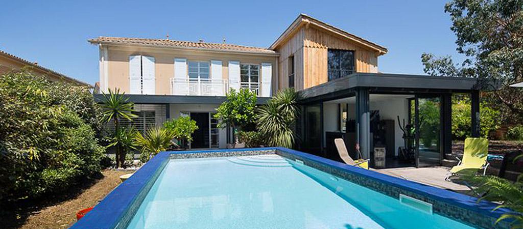 villa bois piscine architecte