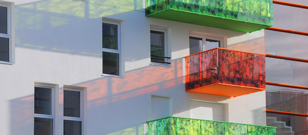 balcon coloré construction architecte