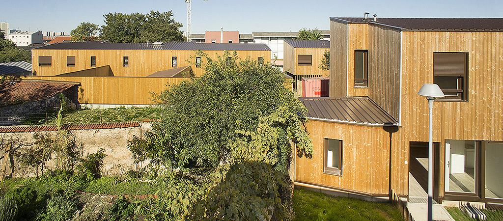 logements collectifs bois arborés