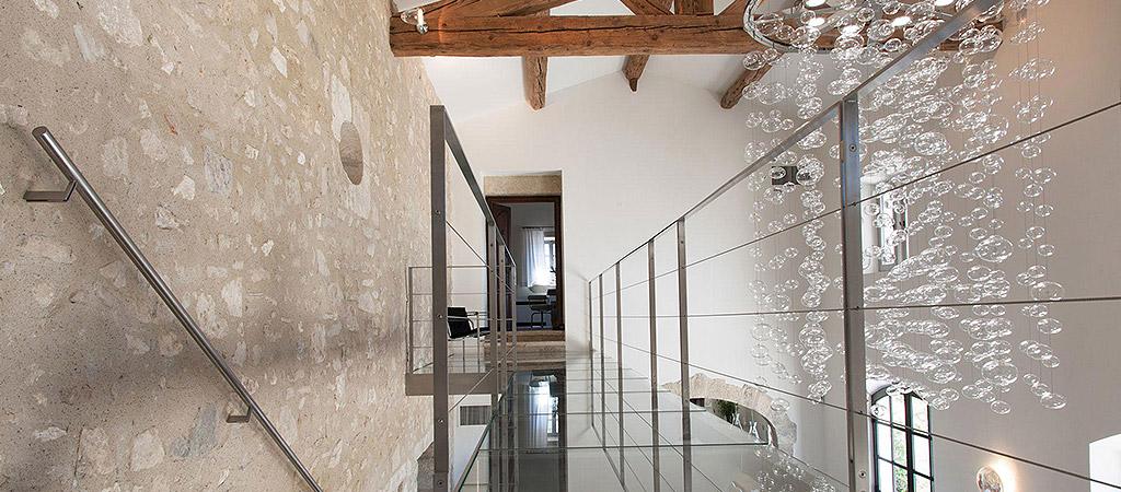 palier escalier verre villa