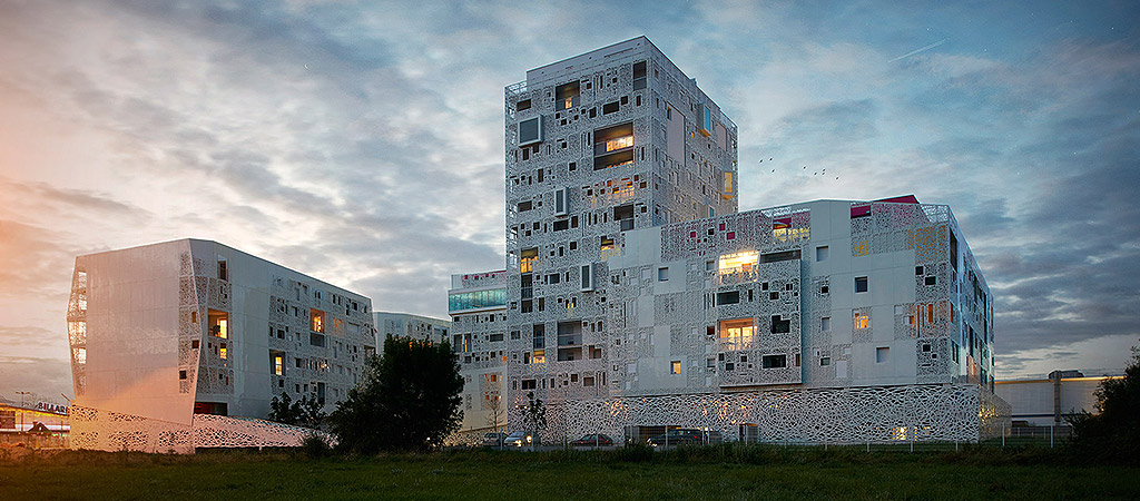 facade blanche logements collectifs