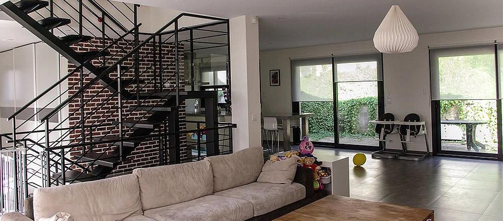 sejour escalier maison architecte