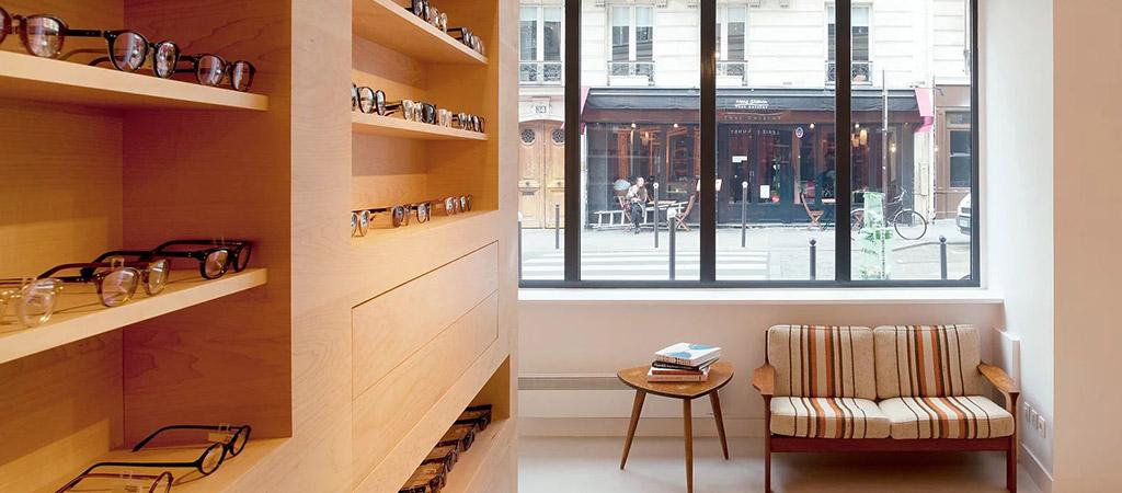 surmesure bois boutique opticien