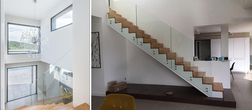 escalier verre villa architecture