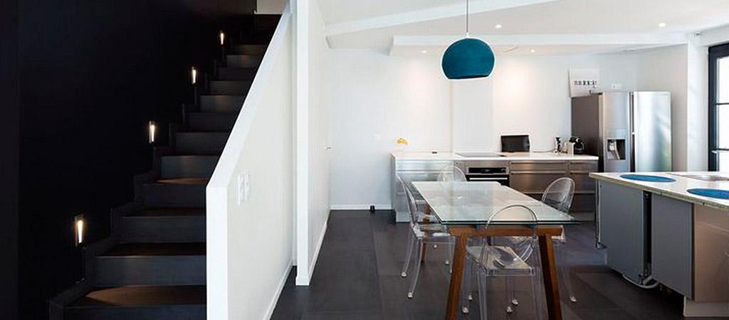 escalier cuisine construction villa